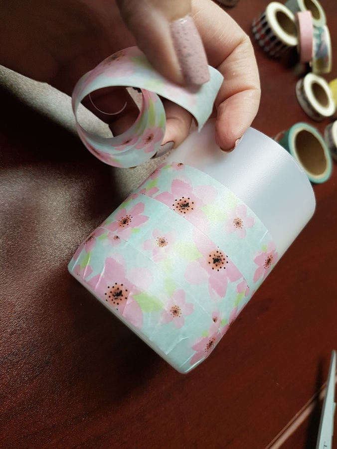 How to upcycle empty Eucalan bottles with Washi Tape