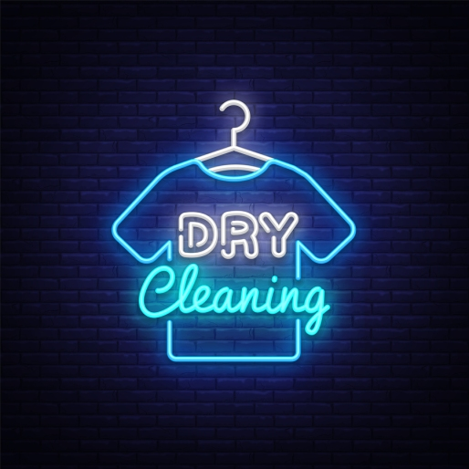 Dry Cleaning Neon Sign Vector. Dry Cleaning Design Template Neon