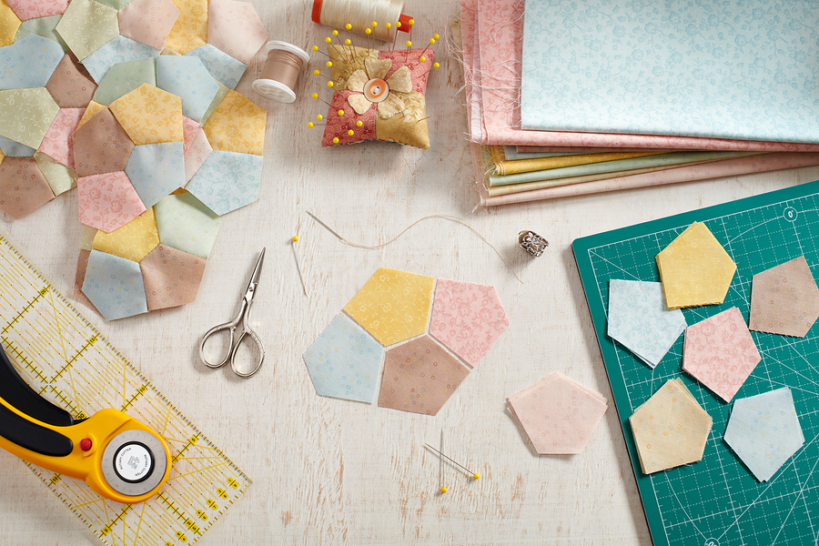 Preparation Of Pentagon Pieces Of Fabric For Sewing Patchwork Bl