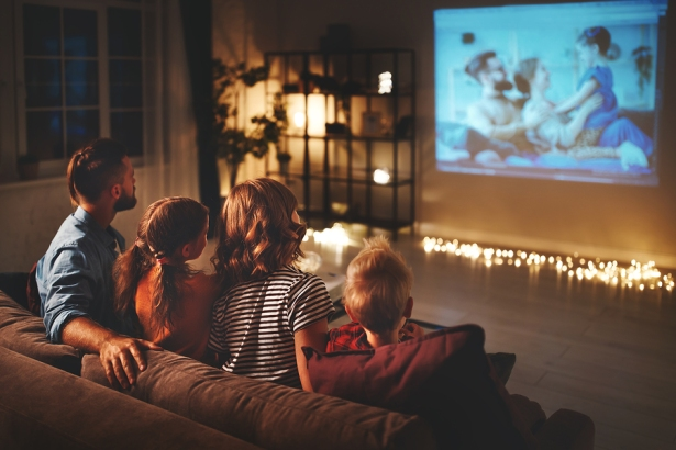 Family Mother Father And Children Watching Projector, Tv, Movies