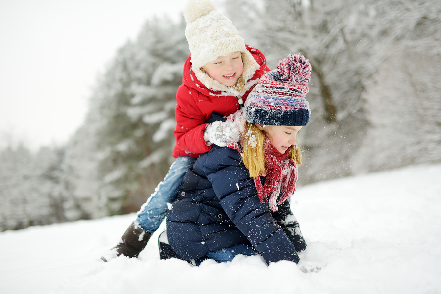 Two Adorable Little Girls Having Fun Together In Beautiful Winte
