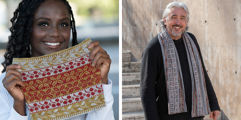 On the left, a black woman smiles holding a colorwork cowl in white, yellow-green and red. On the right, a grey-haired white man wears a long colorwork scarf with grey and brown.