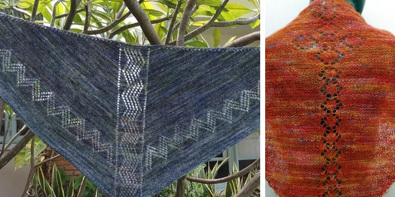 Two shawls in a photo collage. On the left a blue shawl with lacy zigzags down the spine and along the edges is draped in a tree. On the right a variegated orange/pink shawl with a center spine of lace diamonds is wrapped around a mannequin.