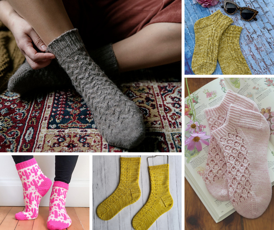 A selection of cabled socks (grey and yellow), lacy socks (pink and yellow) and colorwork socks (white with pink cacti all over)