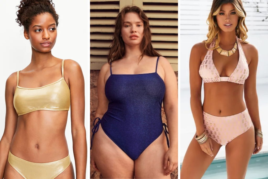 3 shimmery swimsuits: a gold bikini, a dark blue/violet lurex one piece with bows at the hips, a rose gold bikini with gold pineapple print