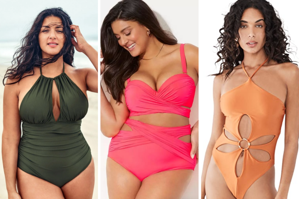 3 Swimsuits featuring keyholes: An olive halter one-piece with a keyhole at the chest, a bright pink bikini with lots of wide straps and an apricot colored one piece with a large flower cutout.