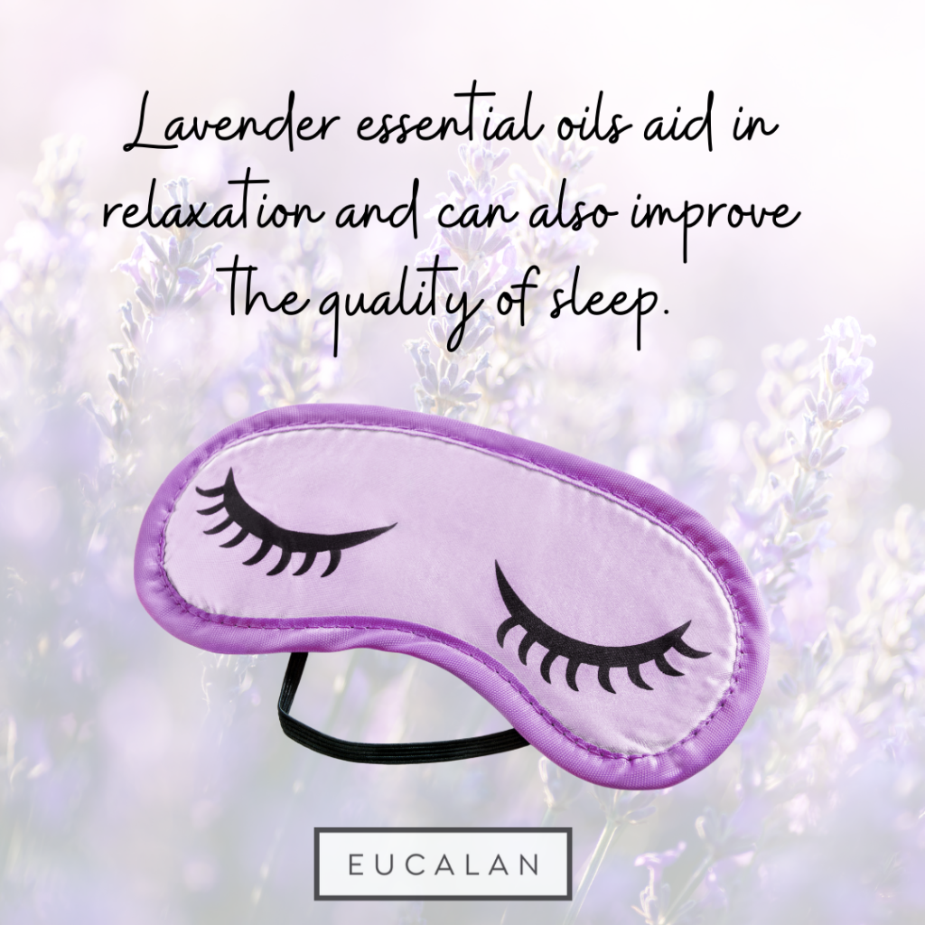 A lavender sleep mask on a background of lavender fields.