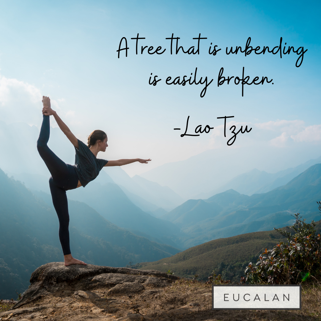 """A young woman holds a yoga pose on the edge of a cliff, overlooking the mountains. Text reads """"A tree that is unbending is easily broken. - Lao Tzu"""""""